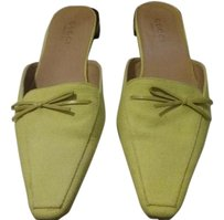 Gucci Made In Italy Woven Fabric yellow Flats