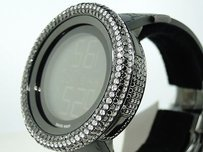Gucci Mens Black Bezel I Gucci Digital Diamond Watch 14.5 Ct