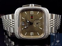 Gucci Mens Gucci Coupe Mm Square Stainless Steel Diamond Watch Ya131301 Ct