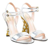 Gucci Metallic Jeweled Wedge Silver Sandals