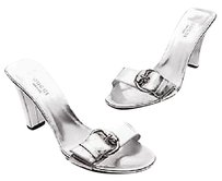 Gucci Leather Romy Open Toe Slide Size Metallic silver Sandals
