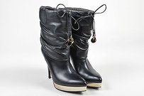 Gucci Leather Gold Tone Black Boots