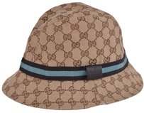 Gucci NEW GUCCI 200036 GG Guccissima Beige Blue Web Stripe Fedora Bucket Hat LARGE
