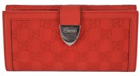 Gucci New Gucci Women's 231837 Red Leather GG Guccissima Buckle Continental Wallet