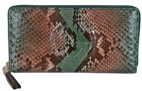 Gucci New Gucci Women's 308004 Soho Ombre Python Snakeskin Zip Around Clutch Wallet
