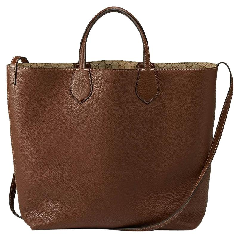 Gucci Ramble Reversible Leather Gg Canvas 370823 Brown Tote Bag on ...