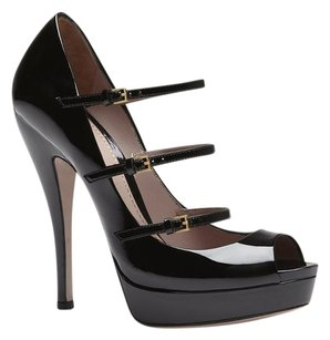 Gucci Patent Leather Pump 309983 High Heel Black Platforms