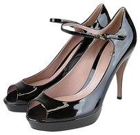 Gucci Patent Leather Sandal Black Platforms