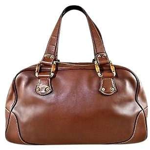 Gucci Leather Bamboo Detail Two Strap Satchel in Brown