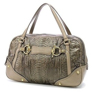 Gucci Taupe Python Jockey Boston Satchel in Taupe (Grey-Brown)