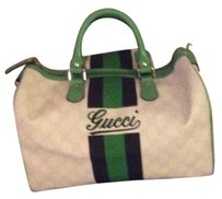 Gucci Satchel in White., green and black