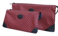 Gucci Set of 2 Vintage New Cosmetic or Travel Bag Red Blue Stripe