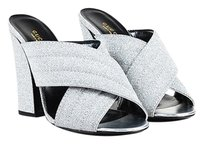 Gucci Silver Leather Metallic Gold, Metallic Silver, Black Sandals