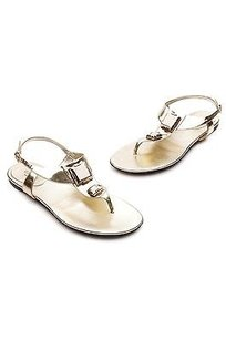 Gucci Leather Metallic gold Sandals