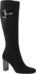 Gucci Suede Leather Heel Knee Black Boots