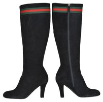 Gucci Suede Leather Knee High Black Boots