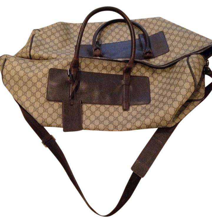 Gucci Travel Leather Duffle Brown Vacation Monogram Brown/tan ...