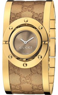 Gucci Twirl Gold-tone Stainless Steel with Leather Ladies Watch YA112434