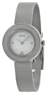 Gucci U-Play Diamond Mother of Pearl Dial Stainless Steel Mesh Ladies Watch