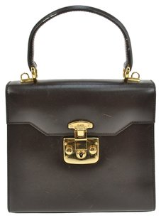 Gucci Vintage Leather Brown Gg Logo Satchel in Brown, Gold