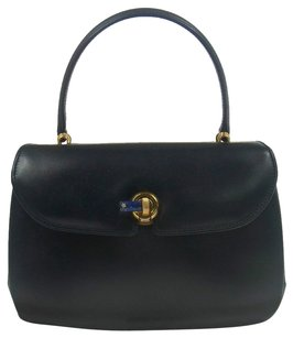 Gucci Vintage Logos Hand Navy Tote in Navy, Gold