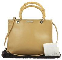 Gucci Vintage Logos Leather Tote in beige