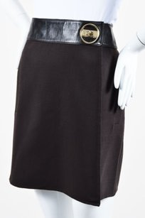 Gucci Wool Leather Turn Skirt Brown
