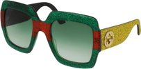 Gucci Gucci Green/Red/Yellow Green/ Red/ Oversize Square Glitter Gg0102/S Su