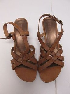 Guess 8m Strappy Cork Wedges Adjustable Heel Criss Cross Front 885 Brown Platforms