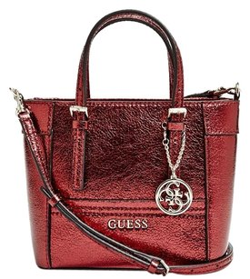 Guess Faux Leather High Fashion Festival Tote in Red