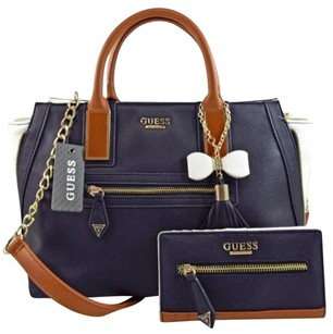 Guess Aydriana Brown Satchel in Blue