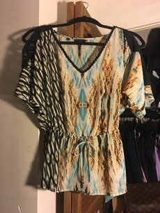 Guess Top Turquois/black/tan/coral pink