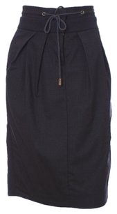 Gunex Italian Wool Ribbed Pleated Skirt Charcoal