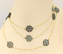 GURHAN Gurhan 24k Gold Seed Pearls Brass Accents Stations 48 Necklace