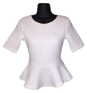 H&M Peplum Quilted Top White