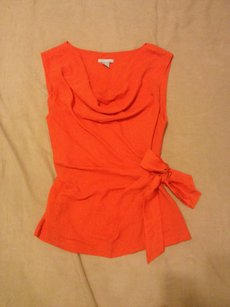 H&M Preppy Shell Drape Tie Top ORANGE