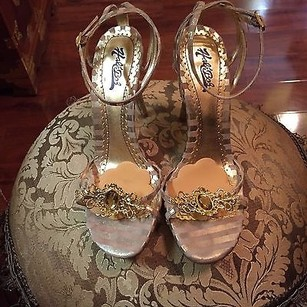 Hale Bob Julee Jeweled Gold Sandals