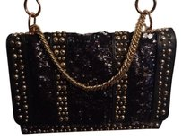 Halston Gold Chain Studded Sequined Cross Body Bag