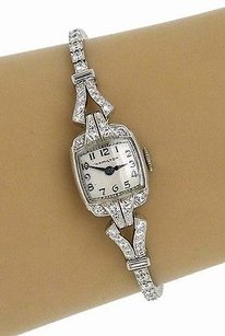 Hamilton Estate Platinum 2.40ctw Round Cut Diamond Hamilton Ladies Wrist Watch