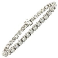 14k White Gold 6.02ctw F VS1 Diamond Classic Tennis Bracelet
