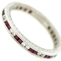 1920s Antique Art Deco Platinum Diamond & Ruby Hammered Wedding Band Ring