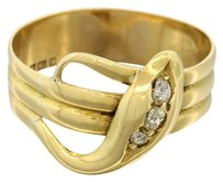 1870s Antique Victorian English 18k Solid Yellow Gold Diamond Wide Band Snake Ring Size 9.5