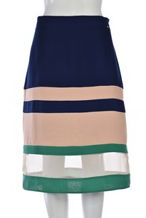 Harlyn Womens Color Block A Line Below Knee Casual Skirt Navy