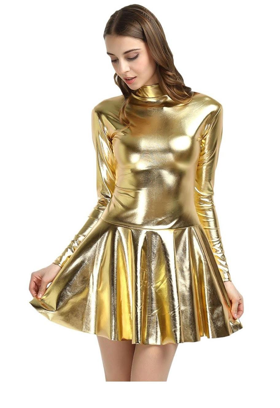 Gold Metallic Dress #21281026 - Casual Dresses (Short)