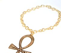 hausofgiovanni Ankh Gold Tone Chain Link Medallion Necklace