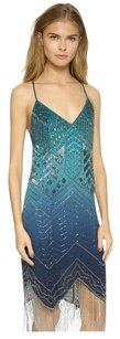 Haute Hippie Ombre Beaded Embellished Silk Dress