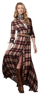 Red Beige Multi Maxi Dress by Haute Hippie Chevron Plaid Maxi Button Down