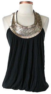Haute Hippie Embellished Halter Top Black