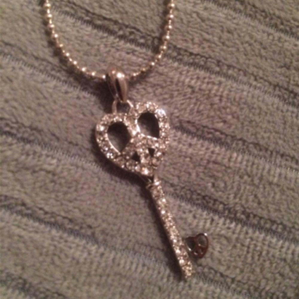 Heart/Peace Key Necklace