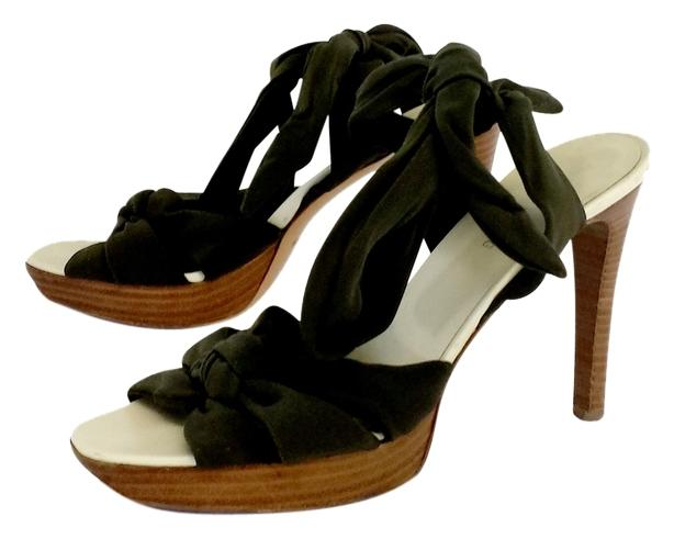 Helmut Lang Olive Green Fabric Size Tie Up Heels Sandals Size Fabric US 8 9a2b1b